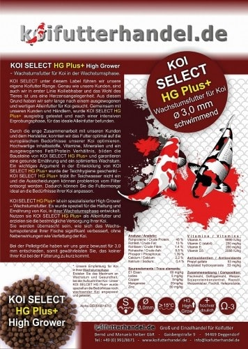 KOI SELECT HG Plus+ High Grower 3 mm - 5kg  - EINFÜHRUNGSPREIS -